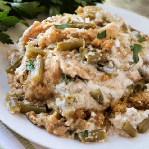 Slow Cooker Chicken Stuffing Green Bean Casserole
