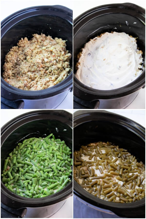 making the stuffing and green beans