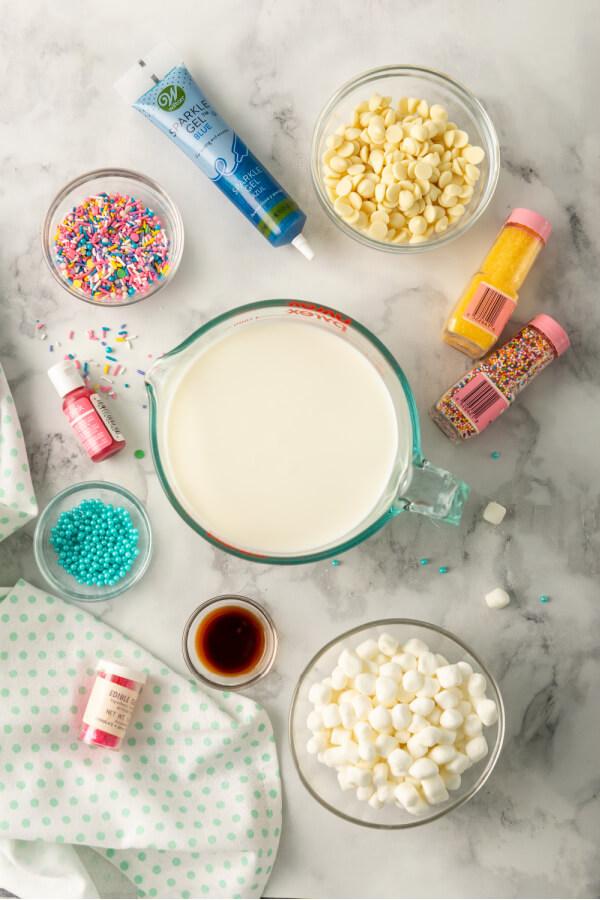 ingredients to make unicorn hot chocolate