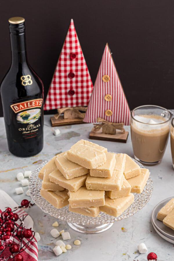 irish cream fudge in holiday setting