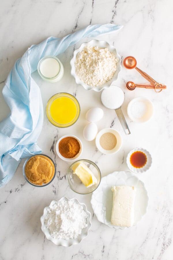 ingredients to make cinnamon rolls