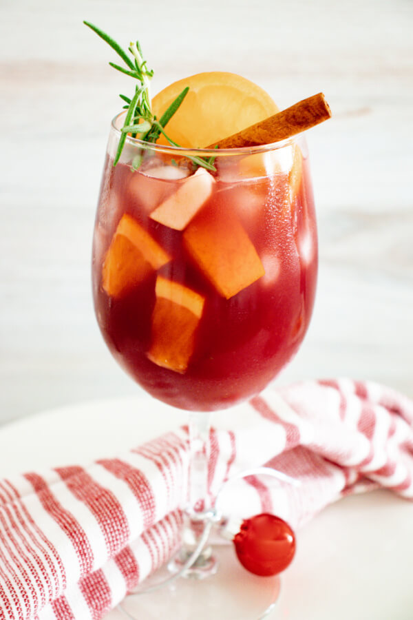 holiday sangria in wine glass