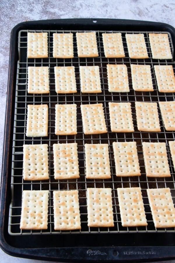 crackers on baking sheet