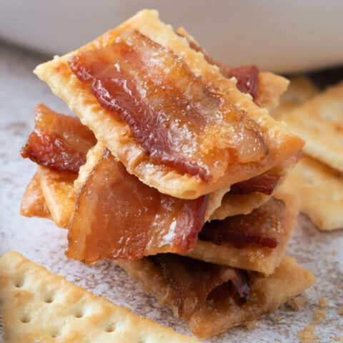 closeup of bacon crackers stacked