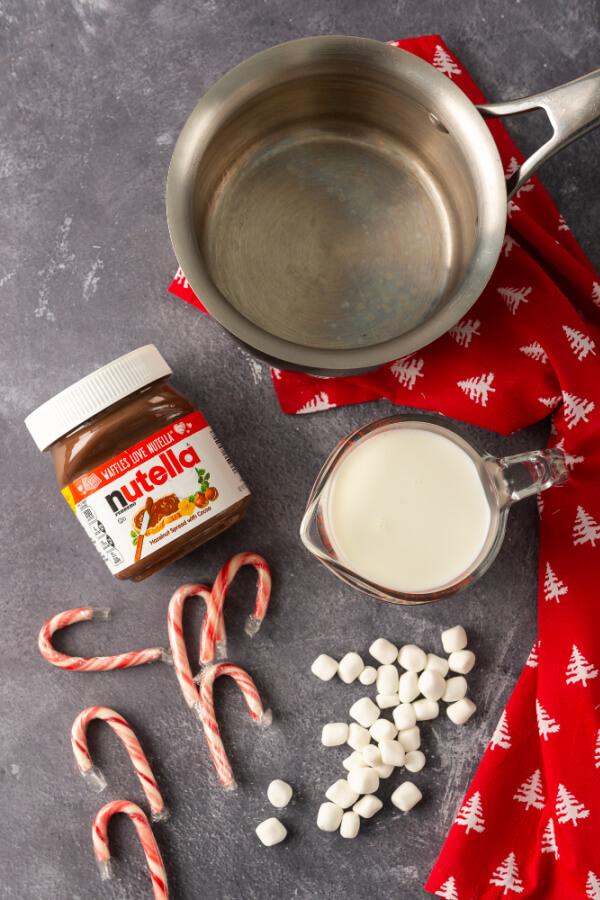 ingredients to make Nutella hot chocolate