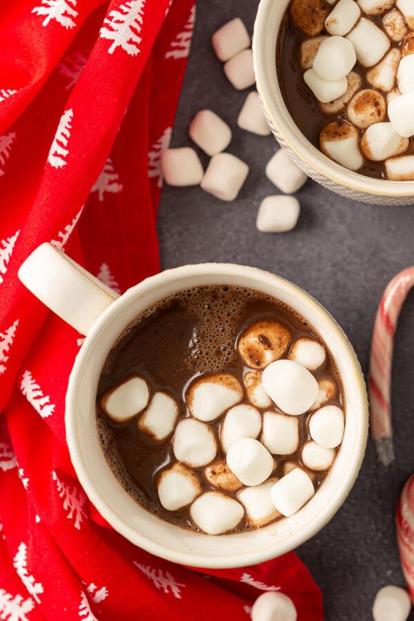 mug of nutella hot chocolate with marshmallows