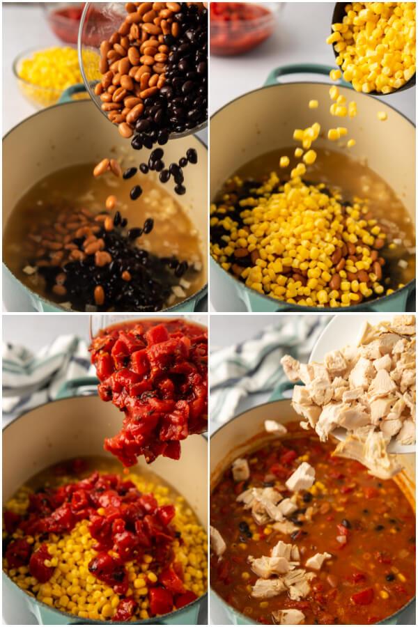 adding ingredients to make soup