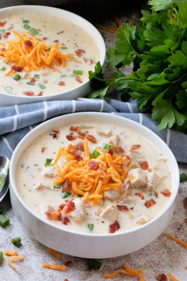 two bowls of chicken bacon ranch soup
