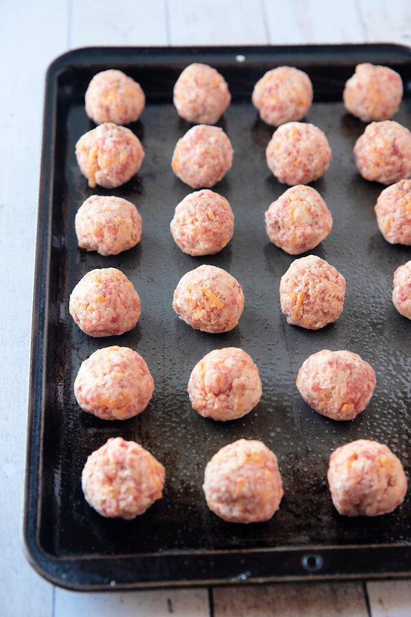 mixture formed into balls on baking sheet