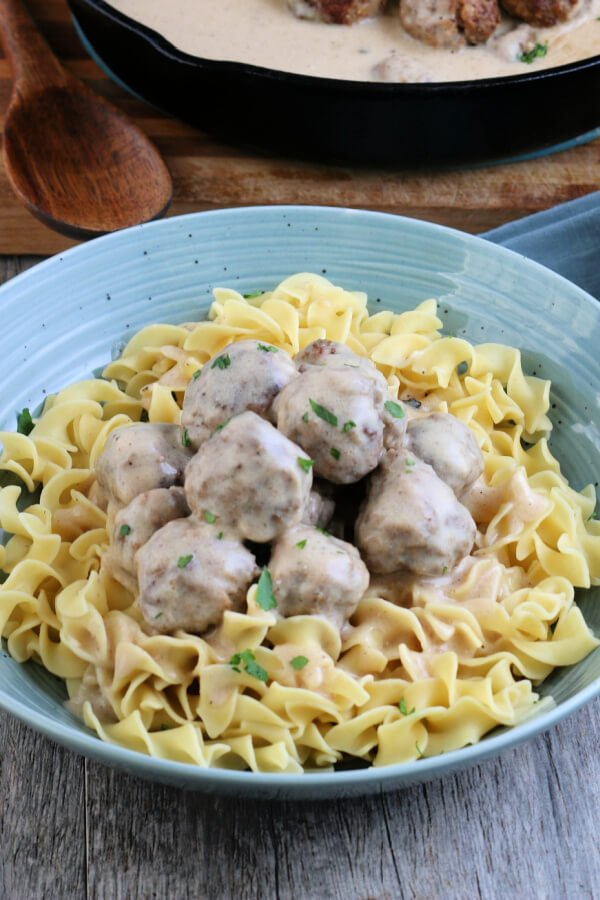 bowl of noodles with Swedish meatballs on top