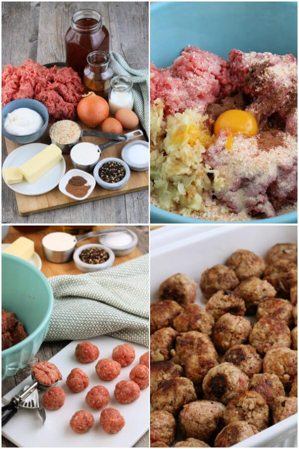 preparing the meatballs