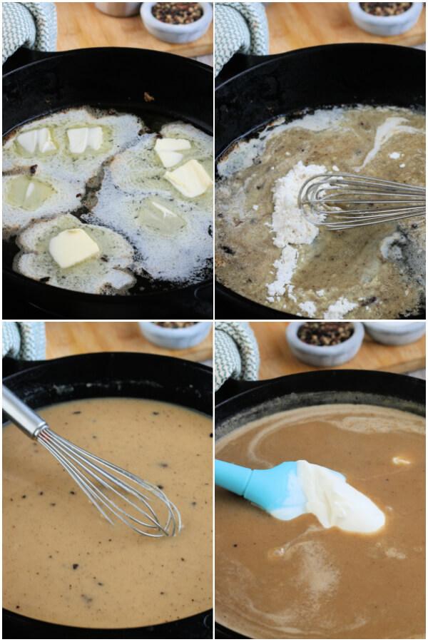 preparing the gravy