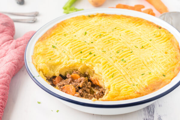 shepherd's pie with scoop taken out to show the inside