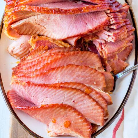 closeup of finished ham recipe with ham glaze