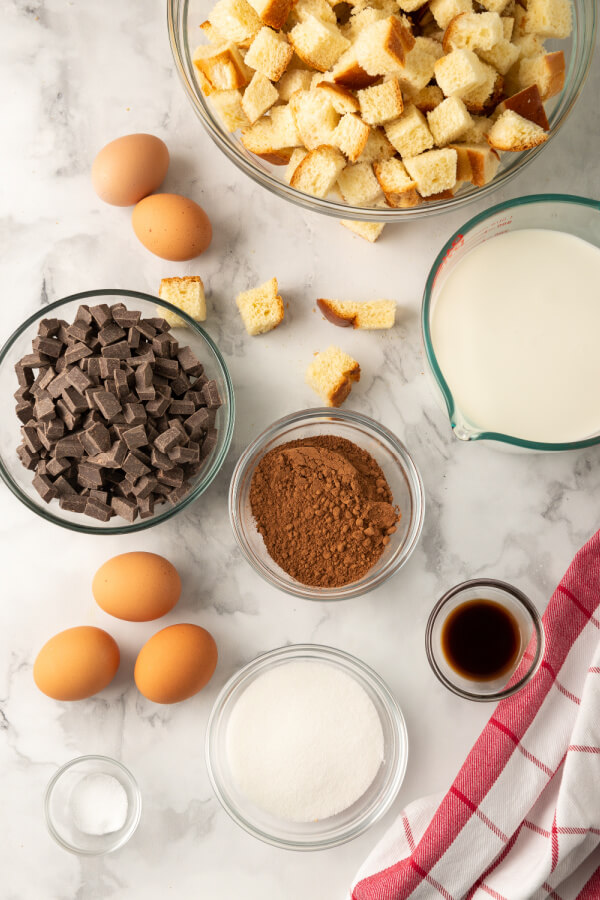 ingredients to make chocolate bread pudding