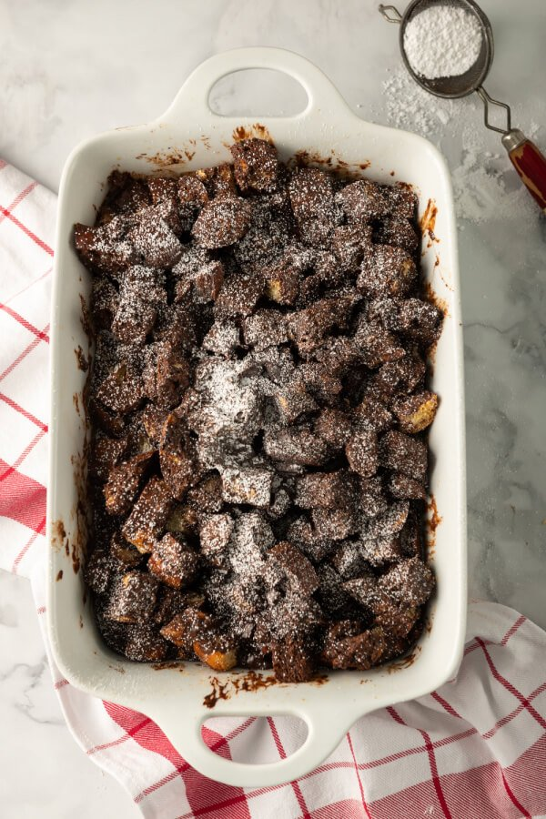 pan with chocolate bread pudding