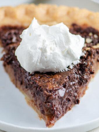 slice of chocolate pie on plate