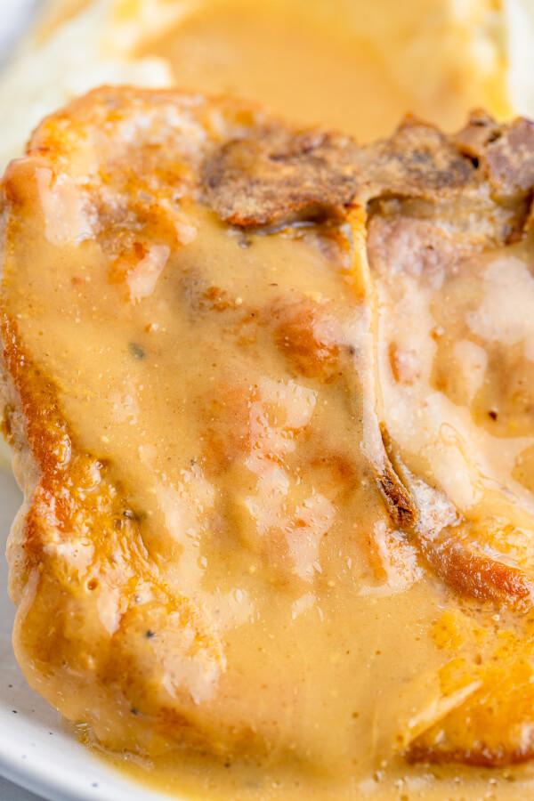 closeup of baked pork chop in gravy
