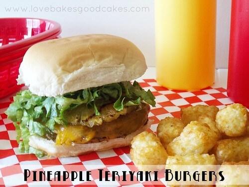 Pineapple teriyaki burger with tater tots.