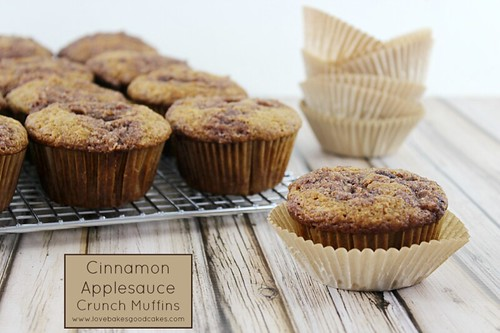 Cinnamon Applesauce Crunch Muffins on a cooling rack.