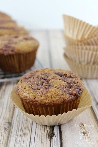 Cinnamon Applesauce Crunch Muffin close up in a wrapper.