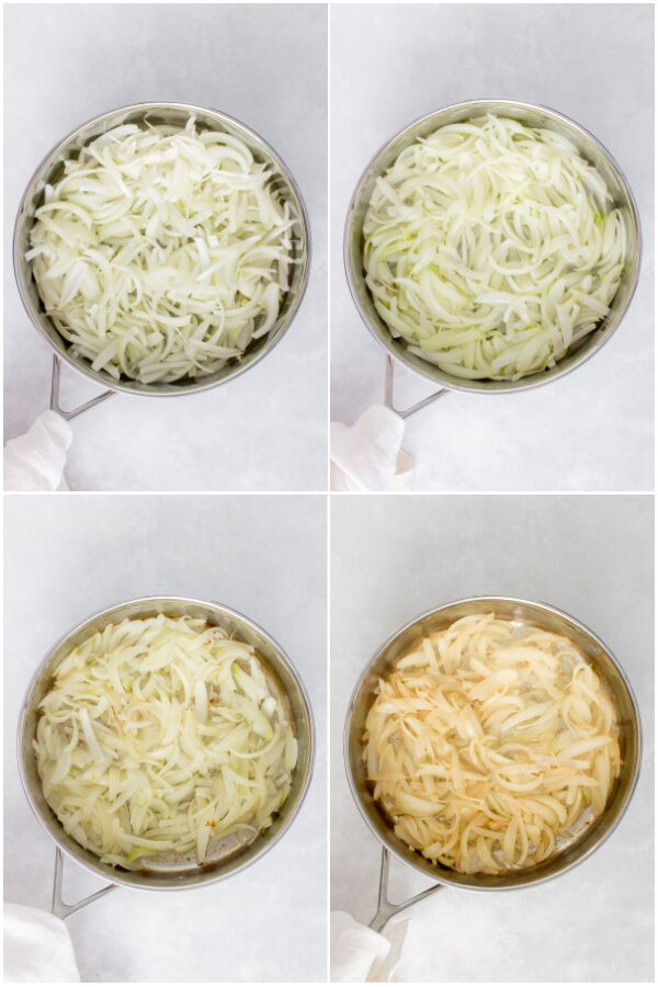 collage of cooking steps 1-4