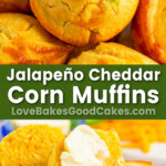 jalapeno cheddar corn muffins pin collage