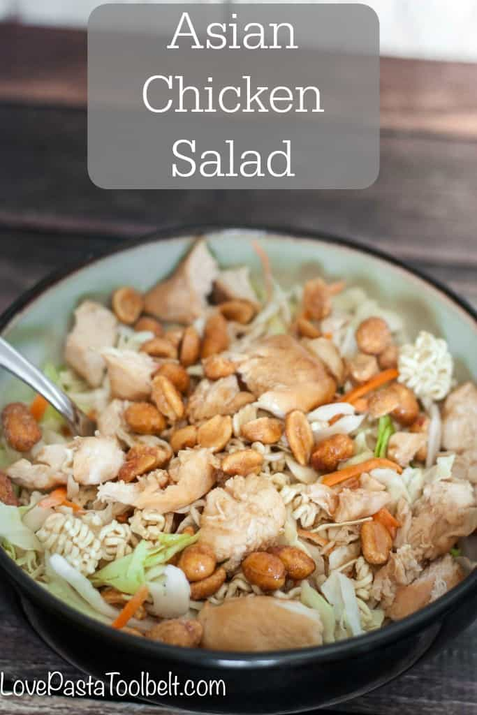 Asian Chicken Salad in a bowl with a fork.