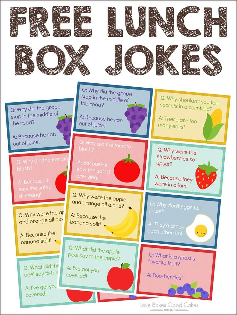 FREE Lunch Box Jokes collage.