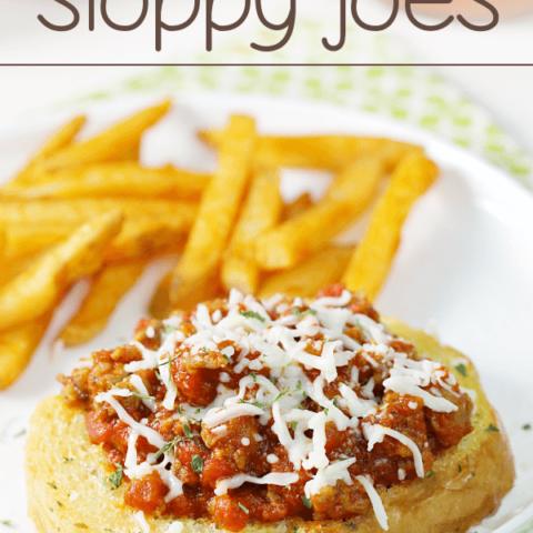 Garlic Bread Italian Sloppy Joes on a white plate.