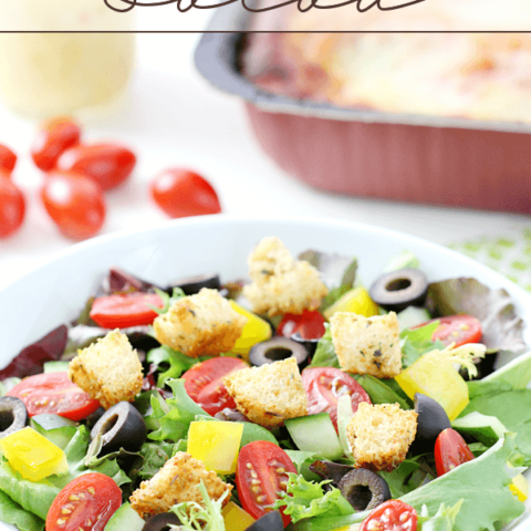 Italian-Style Salad in a white bowl.