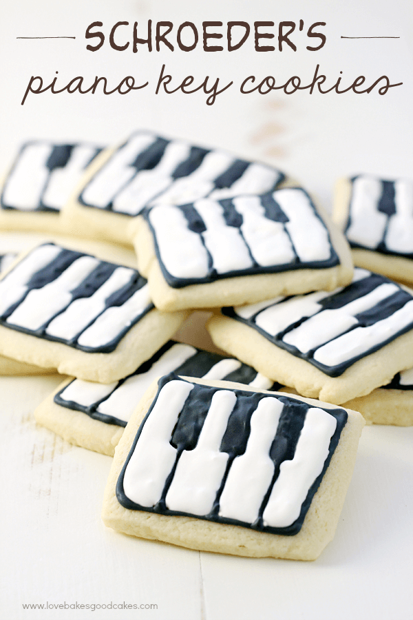 Schroeder's Piano Key Cookies stacked up on a cutting board.