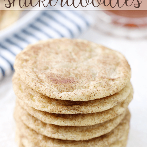 Caramel-Studded Snickerdoodles stacked up on a white plate.