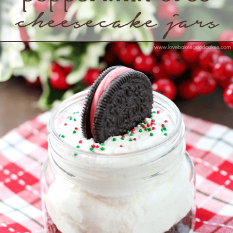 White Chocolate Peppermint Oreo Cheesecake Jar with a peppermint Oreo on top.