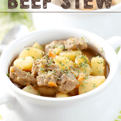 Best Ever Beef Stew in a white bowl.