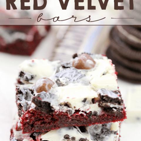 Cookie Lover's Red Velvet Bars on a white plate.