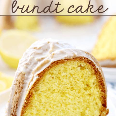 Lemon Lover's Bundt Cake slice on a white plate.