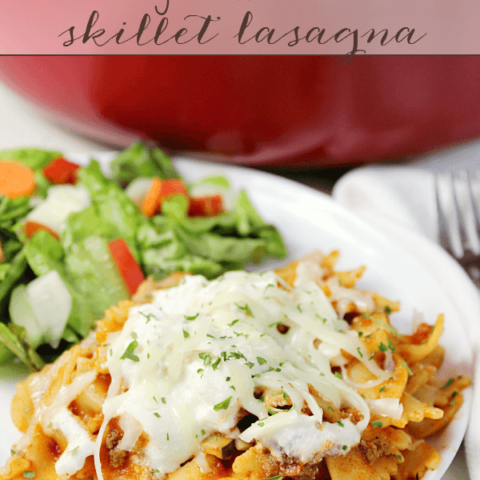 Weeknight Sausage & Zucchini Skillet Lasagna on a white plate.