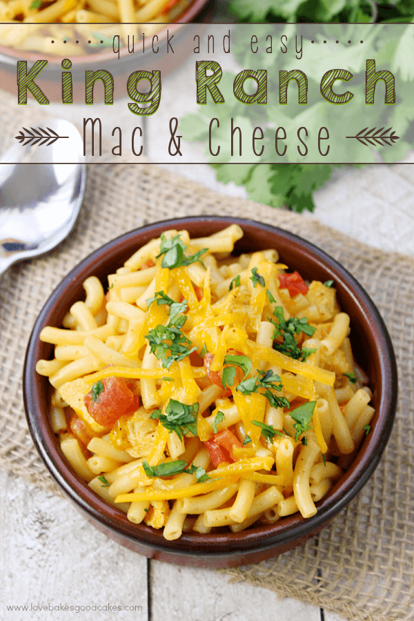 Quick and Easy King Ranch Mac & Cheese in a brown bowl with a spoon.