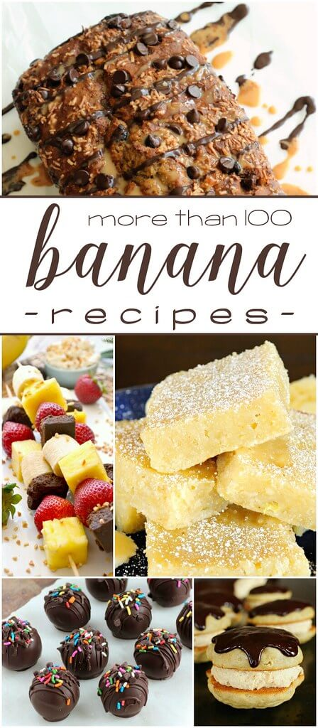More than 100 Banana Recipes collage.