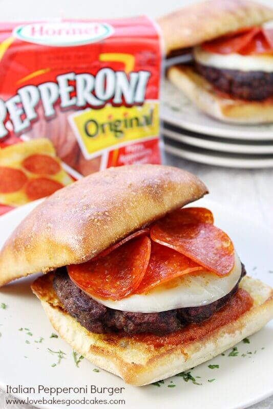 Italian Pepperoni Burger with Hormel Pepperoni on a plate.