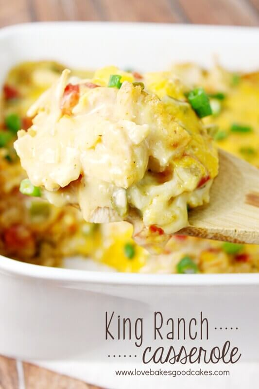 King Ranch Casserole in a white casserole dish.