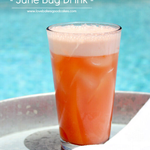 June Bug Drink in a glass by the pool.