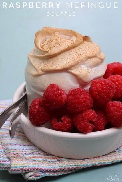Raspberry Meringue Soufflé in a white bowl.