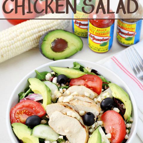 Spicy Southwest Chicken Salad in a white bowl.