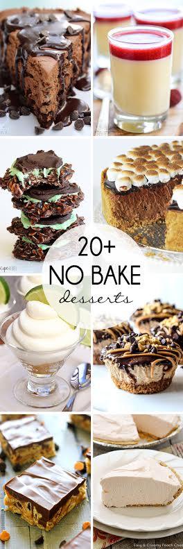 20+ No Bake Desserts collage.