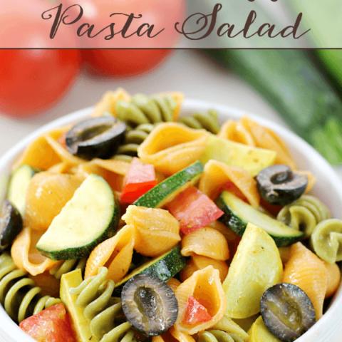 Summer Veggie Pasta Salad in a white bowl.
