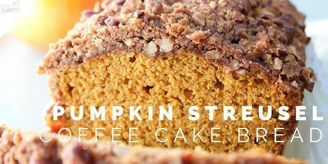 A piece of pumpkin streusel coffee cake bread on a plate.