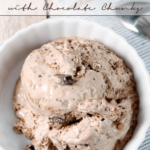 {No-Churn} Chocolate Cake Batter Ice Cream with Chocolate Chunks in a white bowl with a spoon.