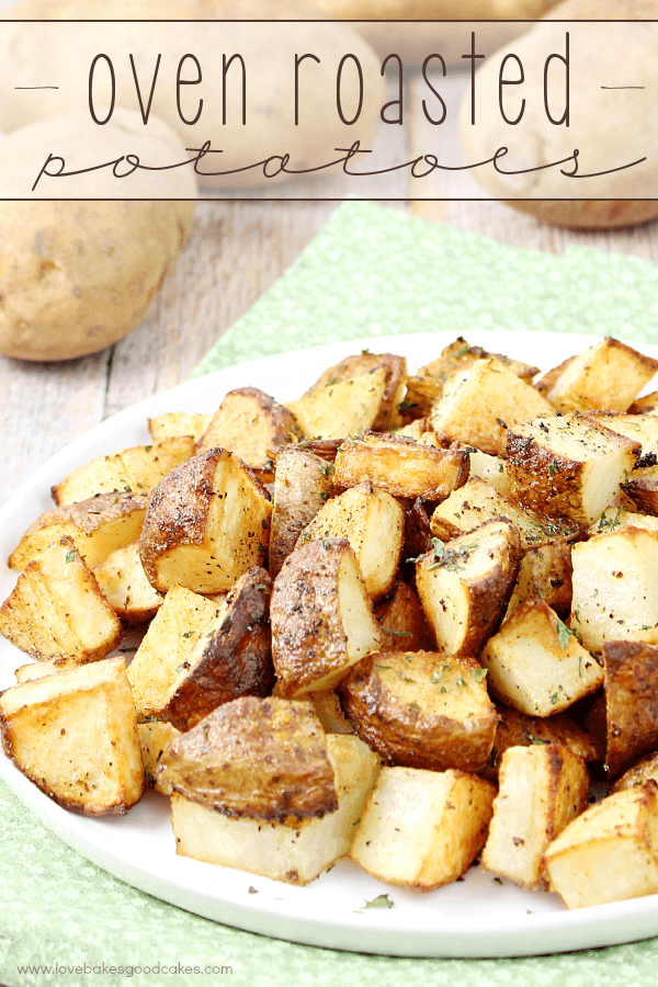 Oven Roasted Potatoes on a white plate.